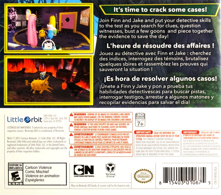 Adventure Time - Finn & Jake Investigations 3DS backHQ (BFNE)