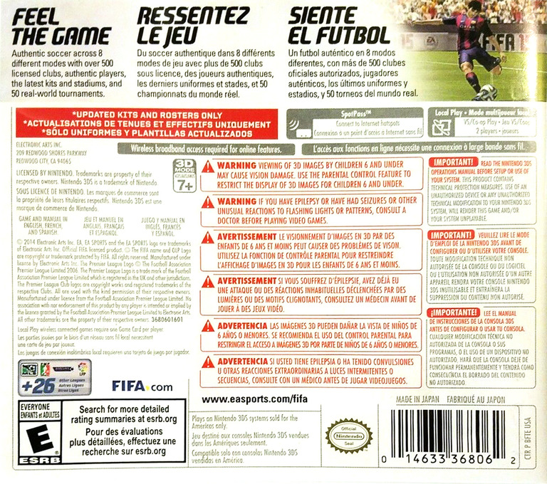 FIFA 15 - Legacy Edition 3DS backHQ (BFTE)