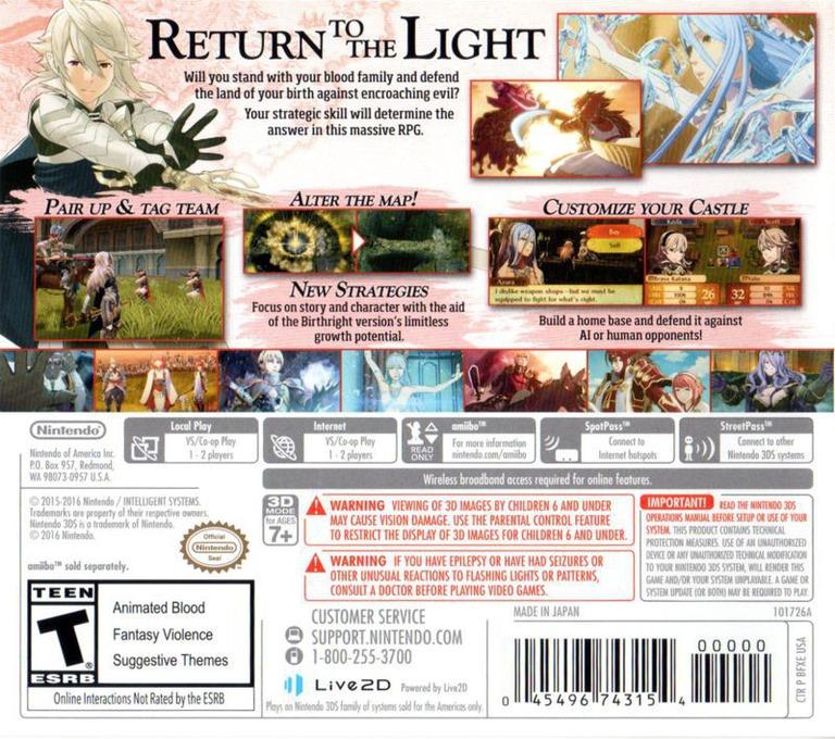 Fire Emblem Fates - Birthright 3DS backHQ (BFXE)