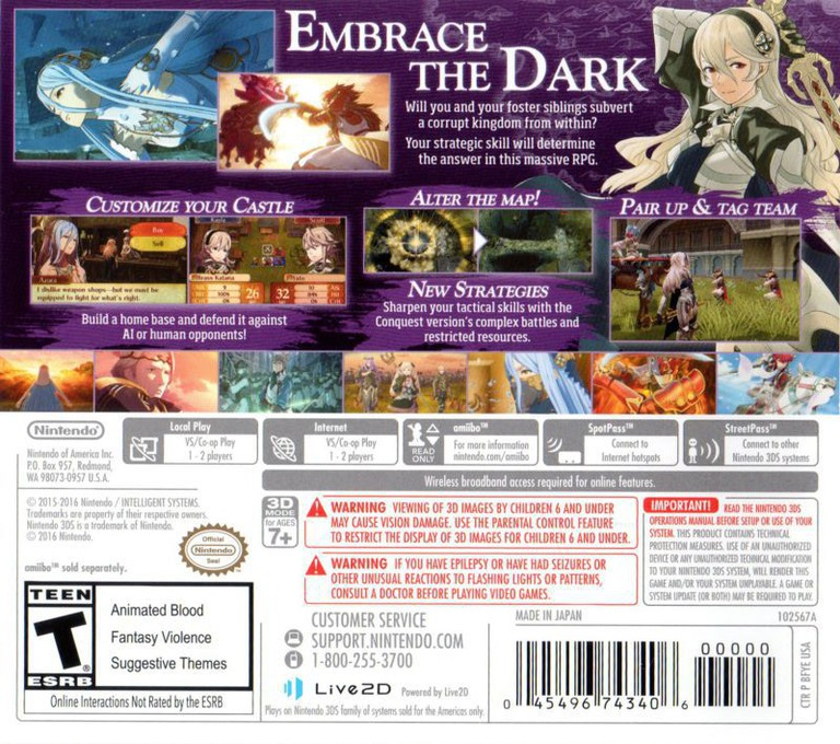 Fire Emblem Fates - Conquest 3DS backHQ (BFYE)