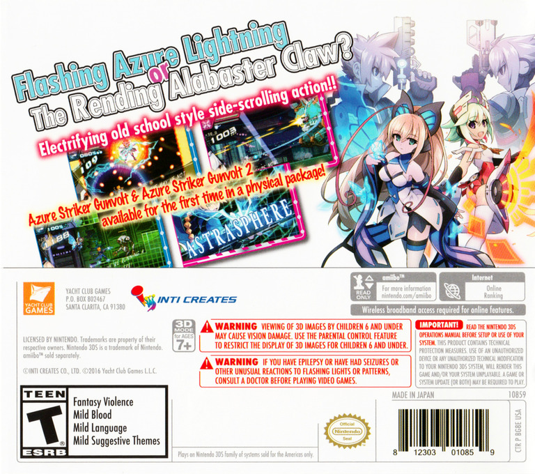 Azure Striker Gunvolt: Striker Pack 3DS backHQ (BG8E)