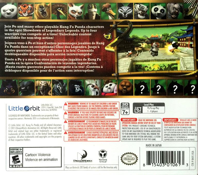 Kung Fu Panda: Showdown of Legendary Legends 3DS backHQ (BKFE)