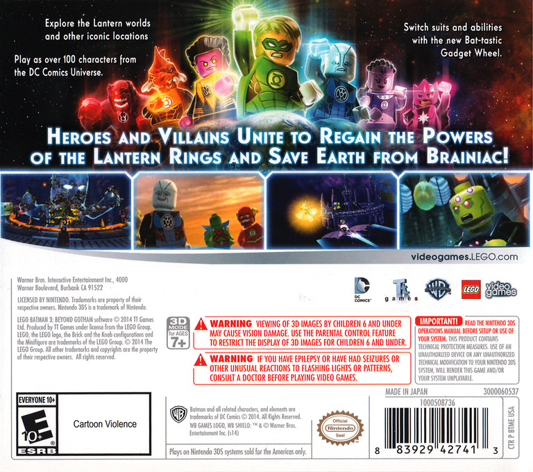 LEGO Batman 3 - Beyond Gotham 3DS backHQ (BTME)