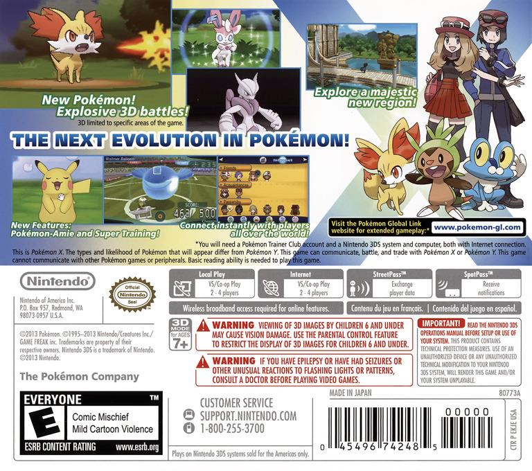 Pokémon X 3DS backHQ (EKJE)