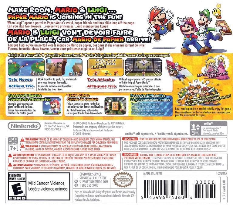 Mario & Luigi - Paper Jam 3DS backHQ (AYNE)