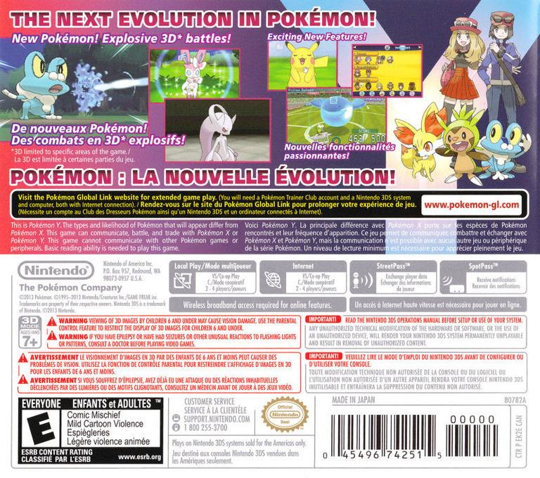 Pokémon Y 3DS backHQB2 (EK2A)