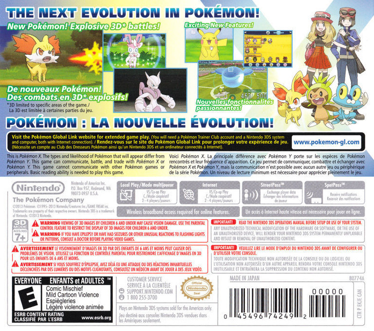 Pokémon X 3DS backHQB2 (EKJA)