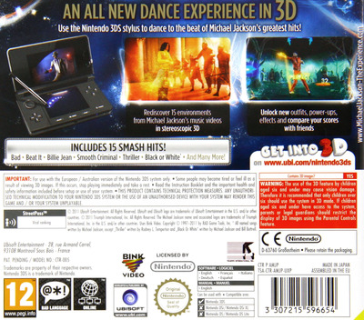Michael Jackson - The Experience 3D 3DS backM (AMJP)