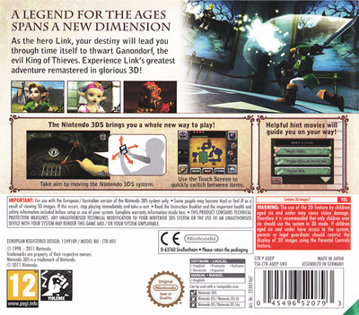 The Legend of Zelda - Ocarina of Time 3D 3DS backM (AQEP)