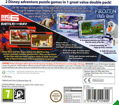 Disney Frozen: Olaf's Quest and Disney Big Hero 6: Battle in the Bay 3DS backM (BF6Z)