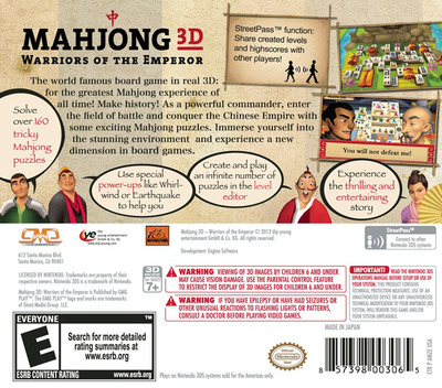 Mahjong 3D - Warriors of the Emperor 3DS backM (AMZE)