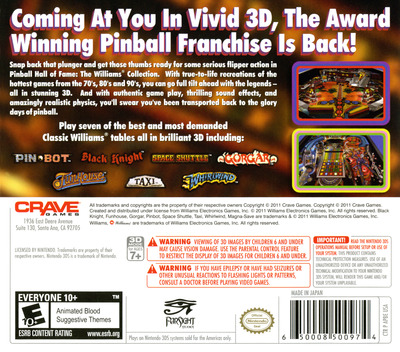 Pinball Hall of Fame - The Williams' Collection 3DS backM (APBE)