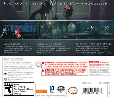 Batman - Arkham Origins Blackgate 3DS backM (AZEE)