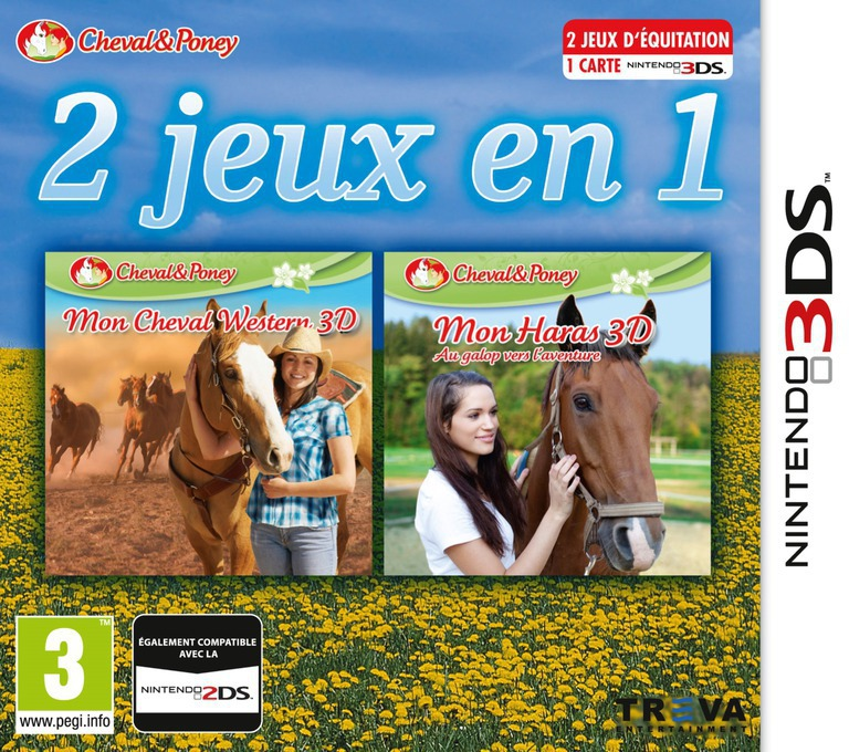 2 in 1 - Horses 3D Vol. 3 - My Riding Stables 3D - Jumping for the Team and My Western Horse 3D 3DS coverHQ (BM2P)