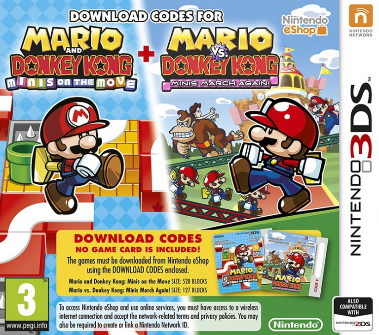 Mario & Donkey Kong: Mini's on the Move / Mario vs. Donkey Kong: Mini's March Again! 3DS coverHQ (V2GV)