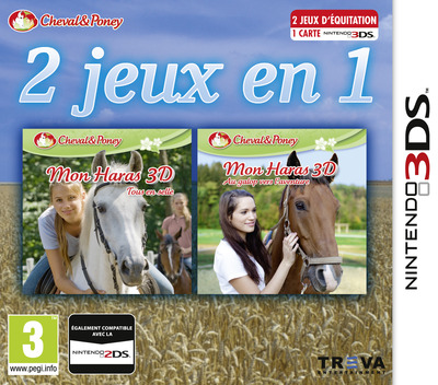 2 in 1 - Horses 3D Vol. 2 - Rivals in the Saddle and Jumping for the Team 3D 3DS coverM (BMRP)