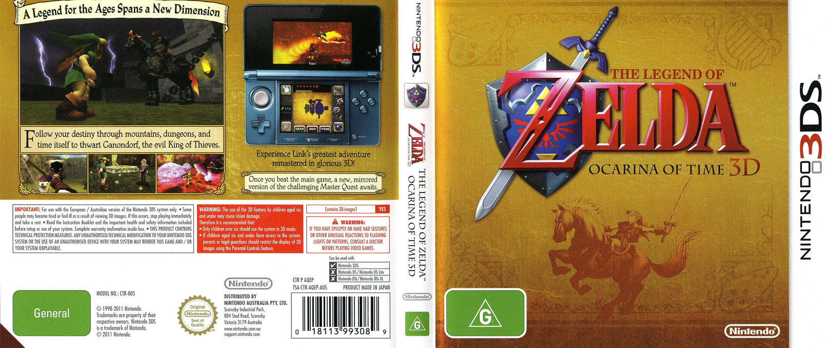 The Legend of Zelda - Ocarina of Time 3D 3DS coverfullHQ (AQEP)