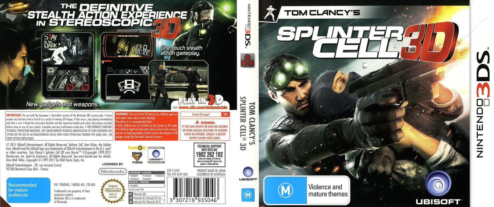 Tom Clancy's Splinter Cell 3D 3DS coverfullHQ (ASCP)