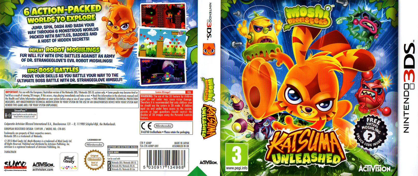 Moshi Monsters - Katsuma Unleashed 3DS coverfullHQ (ADMP)