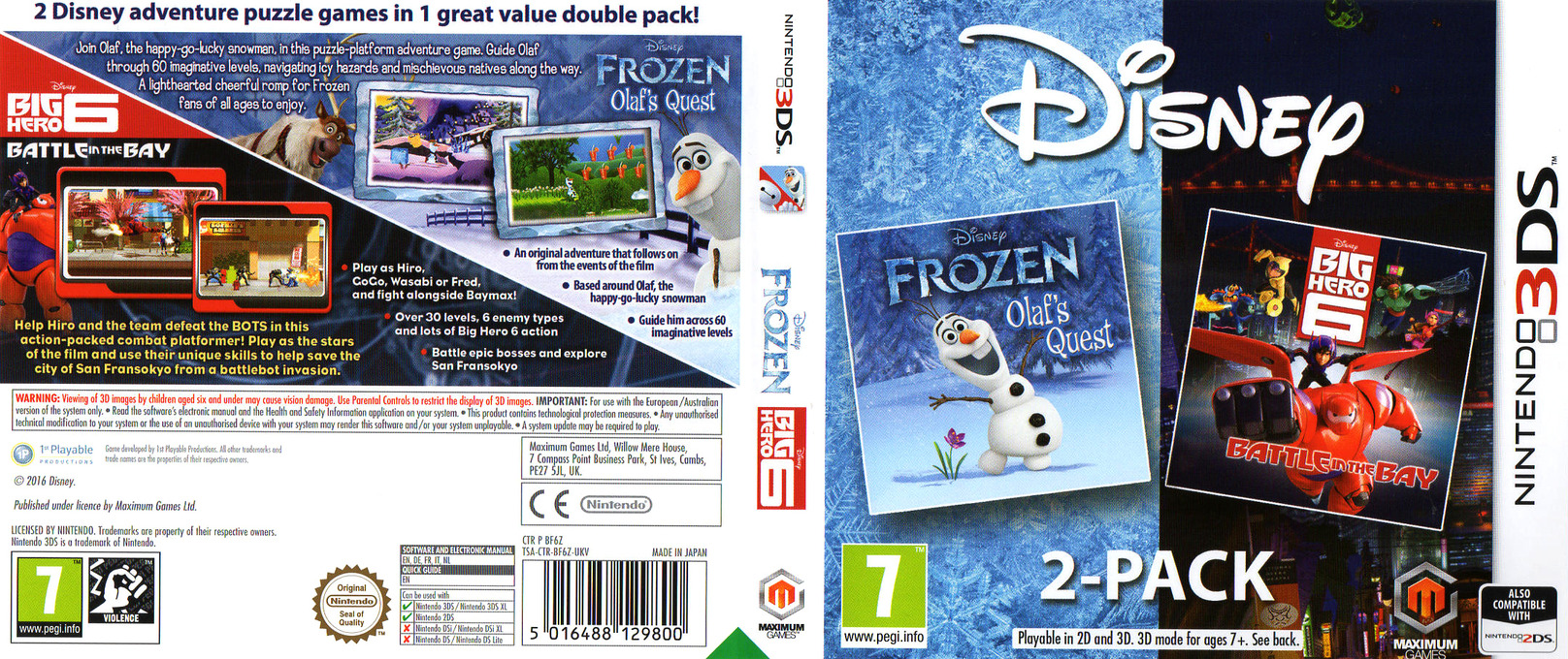 Disney Frozen: Olaf's Quest and Disney Big Hero 6: Battle in the Bay 3DS coverfullHQ (BF6Z)