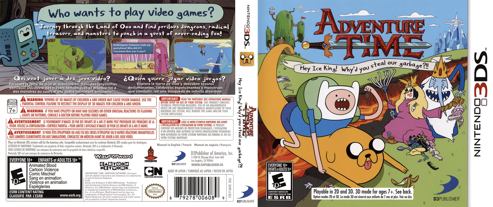 Adventure Time - Hey Ice King! Why'd You Steal Our Garbage!! 3DS coverfullHQ (AD4E)
