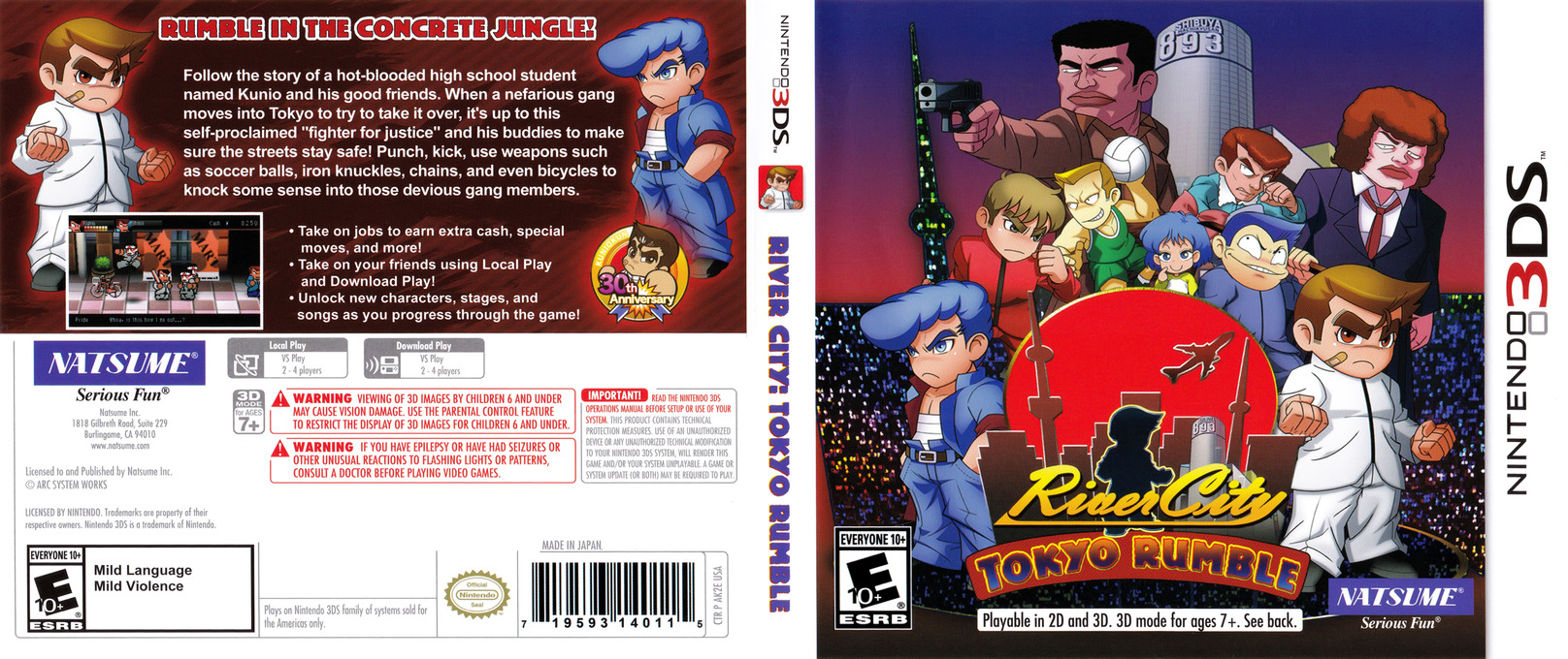 River City: Tokyo Rumble 3DS coverfullHQ (AK2E)
