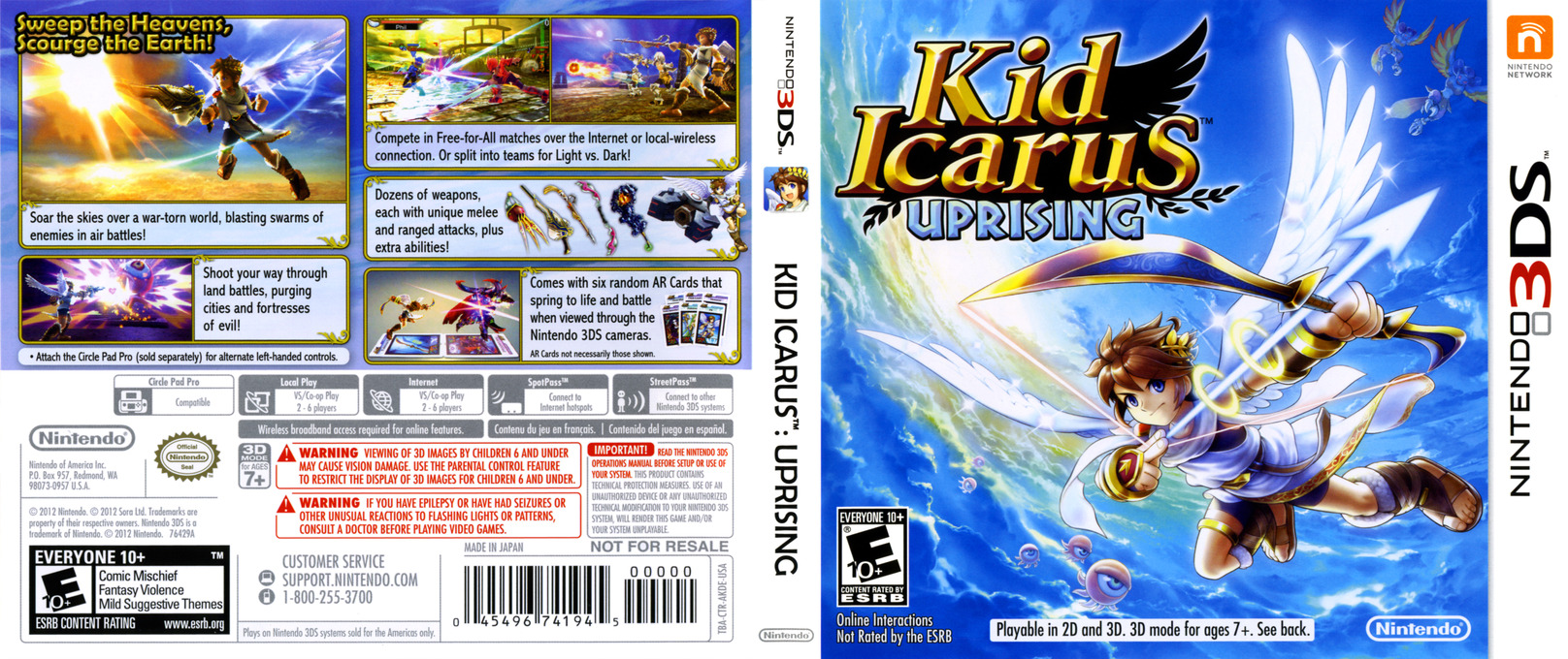 Kid Icarus - Uprising 3DS coverfullHQ (AKDE)