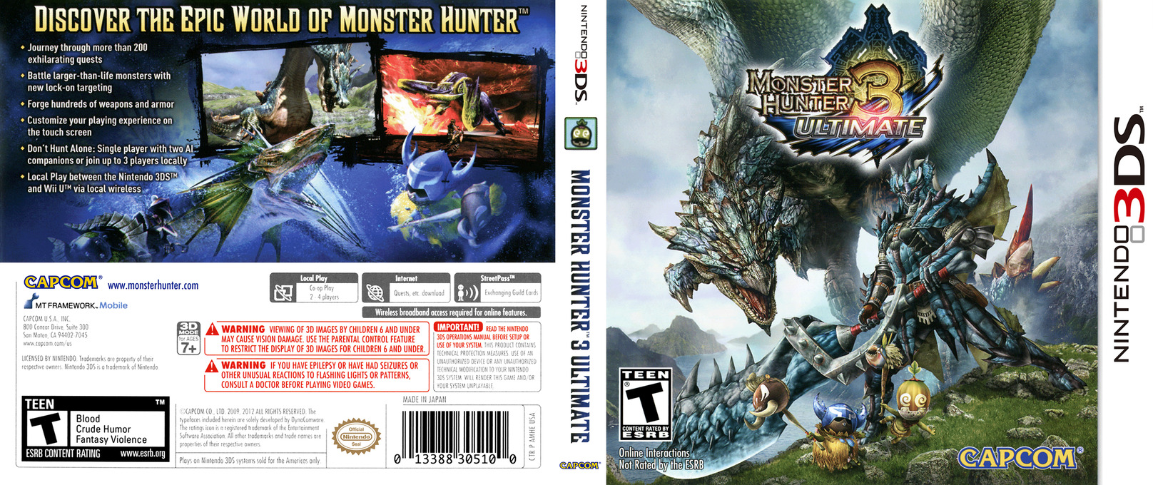 Monster Hunter 3 Ultimate 3DS coverfullHQ (AMHE)