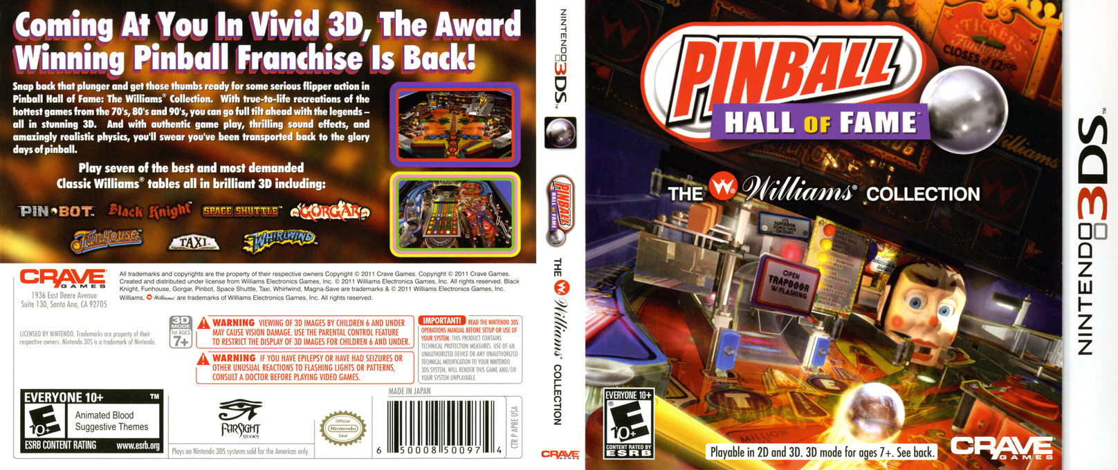 Pinball Hall of Fame - The Williams' Collection 3DS coverfullHQ (APBE)