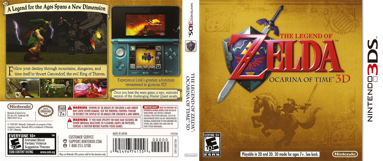 The Legend of Zelda - Ocarina of Time 3D 3DS coverfullHQ (AQEE)