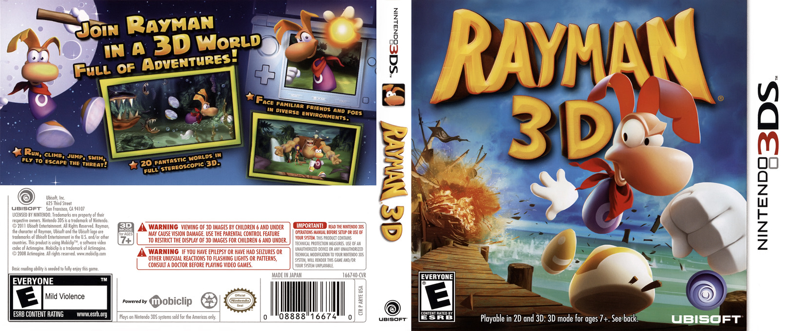 Rayman 3D 3DS coverfullHQ (ARYE)
