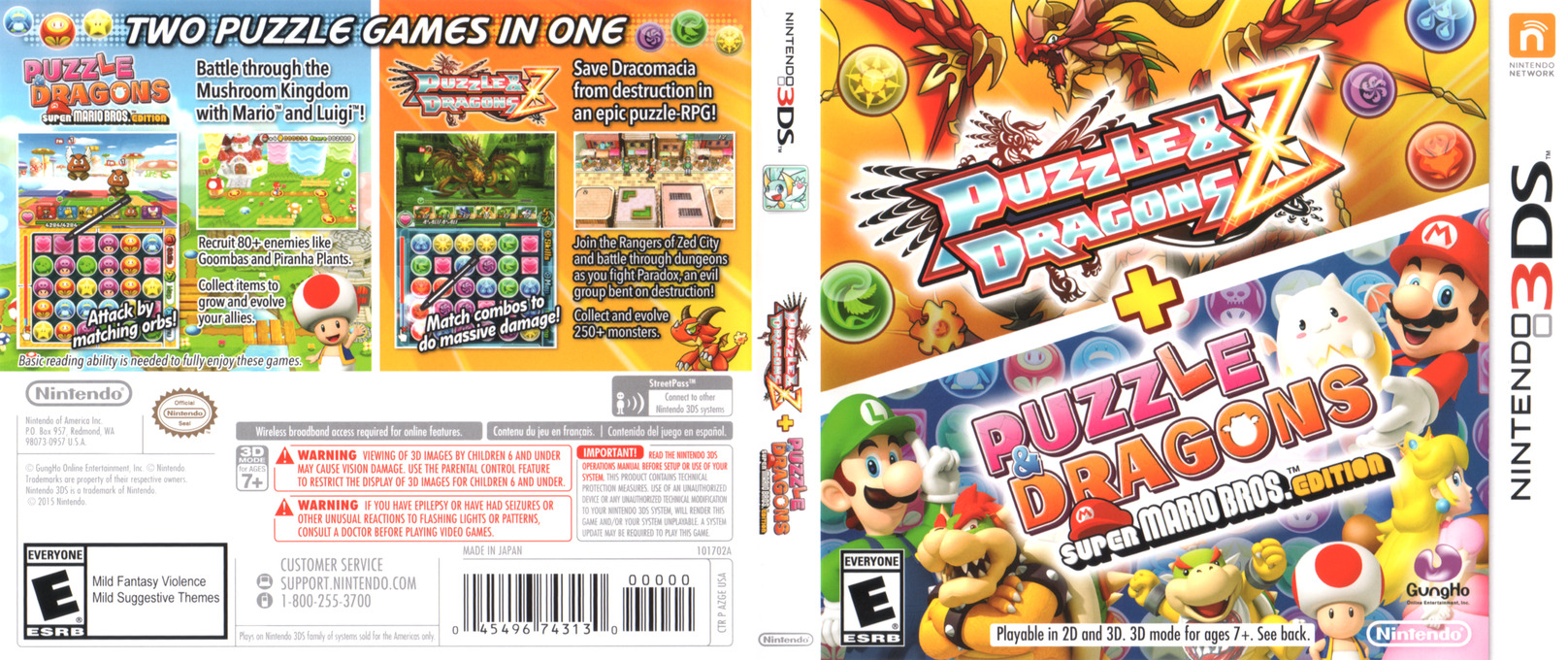 Puzzles & Dragons Z + Puzzles & Dragons Super Mario Bros. Edition 3DS coverfullHQ (AZGE)