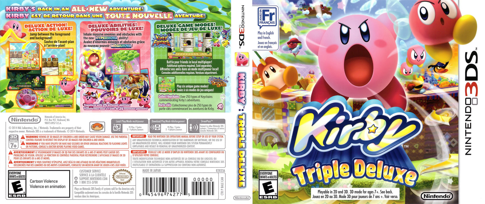 Kirby - Triple Deluxe 3DS coverfullHQ (BALE)