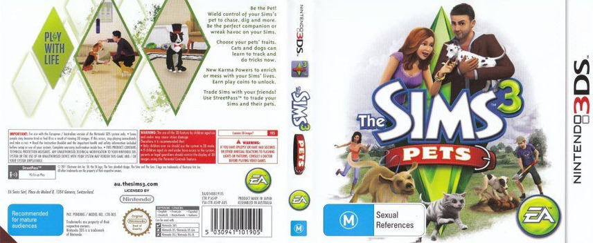 The Sims 3 - Pets 3DS coverfullM (AS4P)