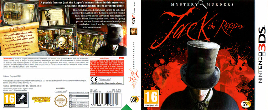 Mystery Murders - Jack the Ripper 3DS coverfullM (AAJP)