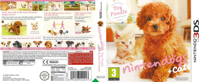 Nintendogs + Cats - Toy Poodle & New Friends 3DS coverfullM (ADCP)