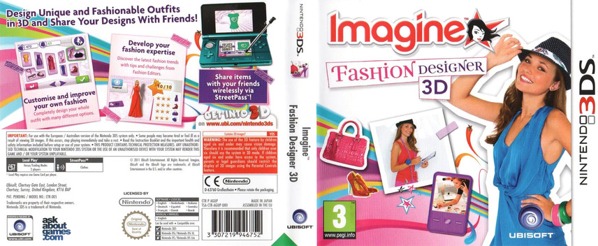 Imagine - Fashion Designer 3D 3DS coverfullM (AGUP)