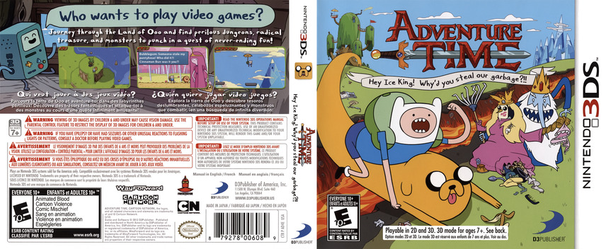 Adventure Time - Hey Ice King! Why'd You Steal Our Garbage!! 3DS coverfullM (AD4E)