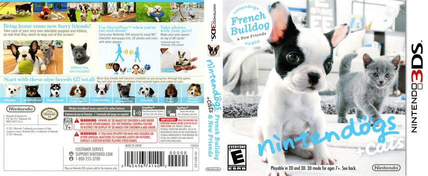 Nintendogs + Cats - French Bulldog & New Friends 3DS coverfullM (ADBE)