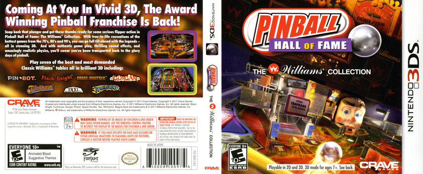 Pinball Hall of Fame - The Williams' Collection 3DS coverfullM (APBE)