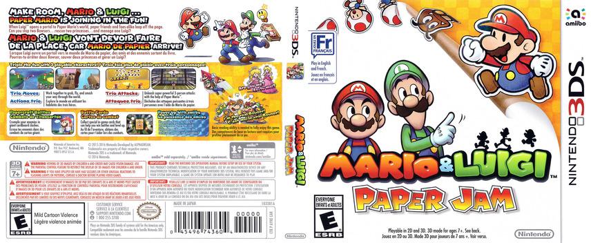 Mario & Luigi - Paper Jam 3DS coverfullM (AYNE)