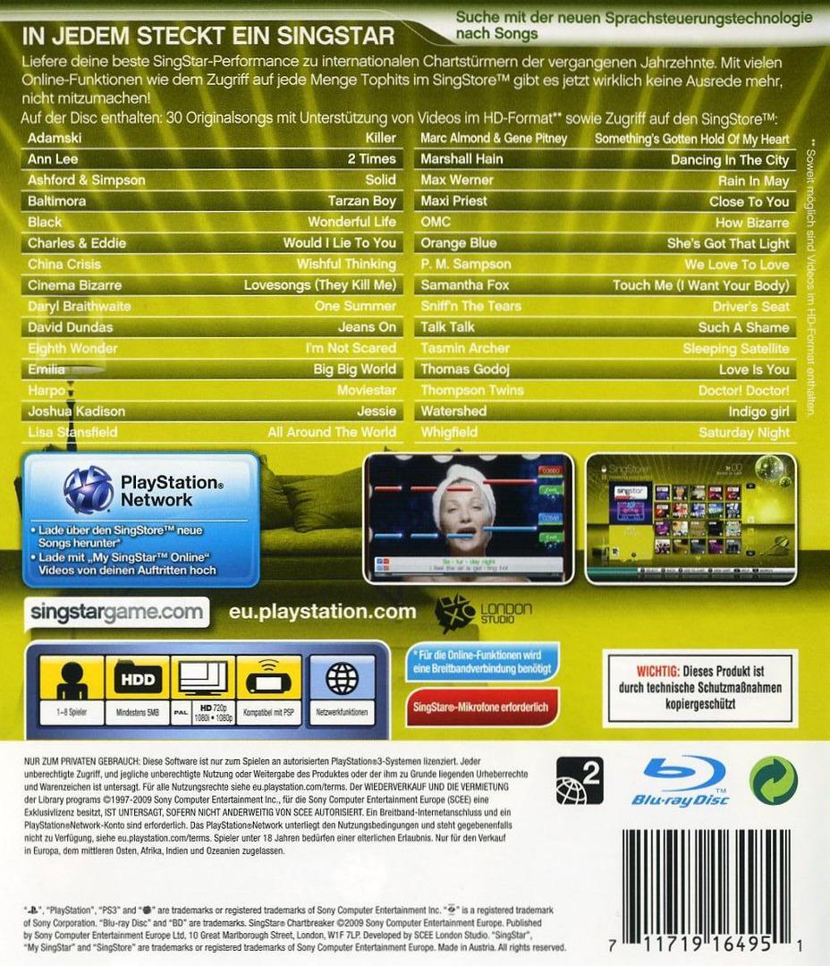 SingStar: Chartbreaker PS3 backHQ (BCES00640)