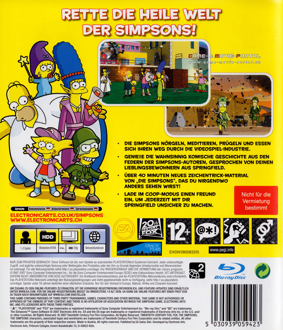 Die Simpsons: Das Spie PS3 backHQ (BLES00146)