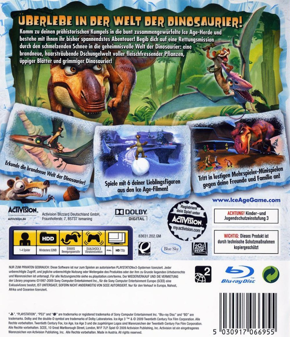 Ice Age 3: Die Dinosaurier Sind Los PS3 backHQ (BLES00522)