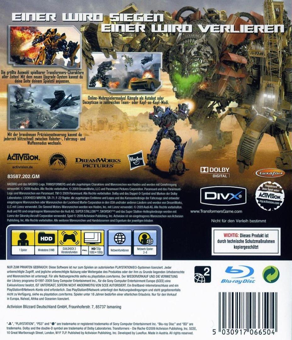 Transformers: Die Rache PS3 backHQ (BLES00577)
