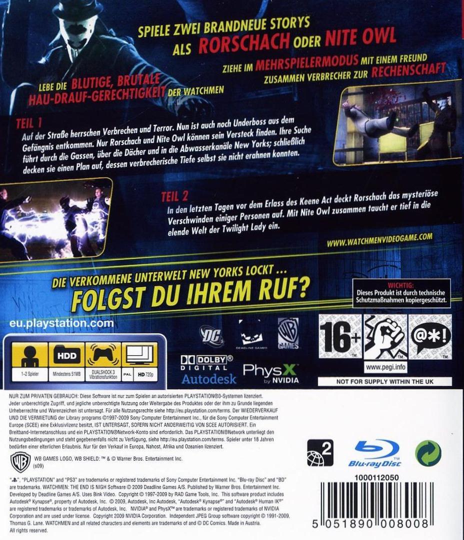 Watchmen: Das Ende Ist Nah - Tail 1&2 PS3 backHQ (BLES00613)