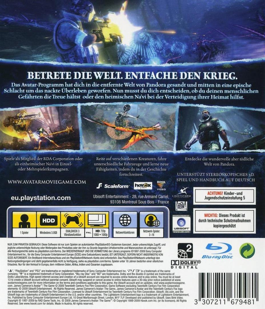 Avatar: Das Spiel PS3 backHQ (BLES00667)