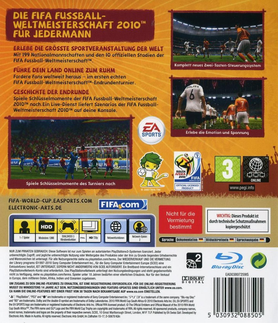 FIFA Fussball: Weltmeisterschaft Südafrika 2010 PS3 backHQ (BLES00796)