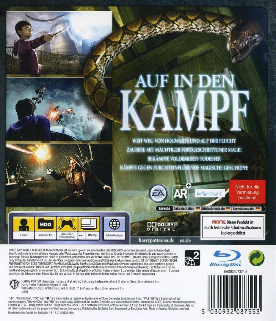 Harry Potter un die Heiligtümer des Todes - Teil 1 PS3 backHQ (BLES00931)