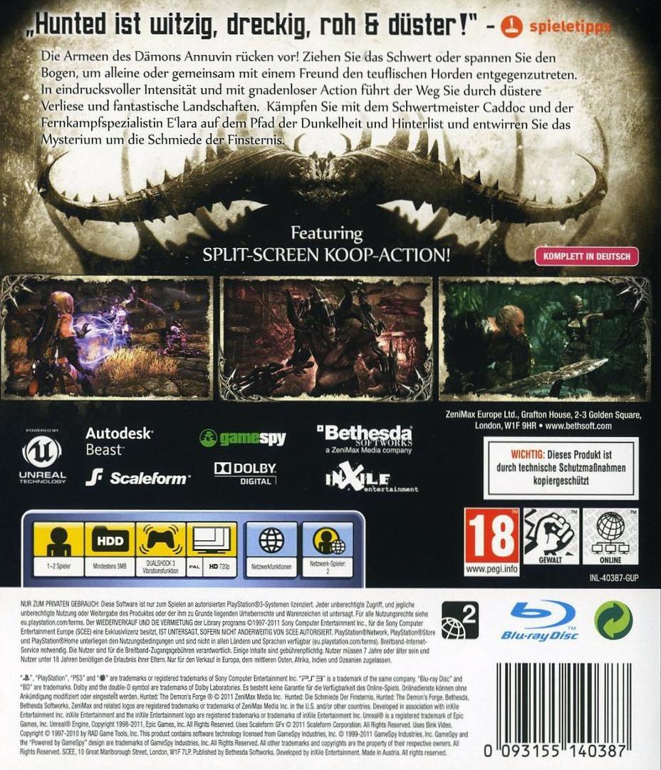 Hunted: Die Schmiede der Finsternis PS3 backHQ (BLES01310)